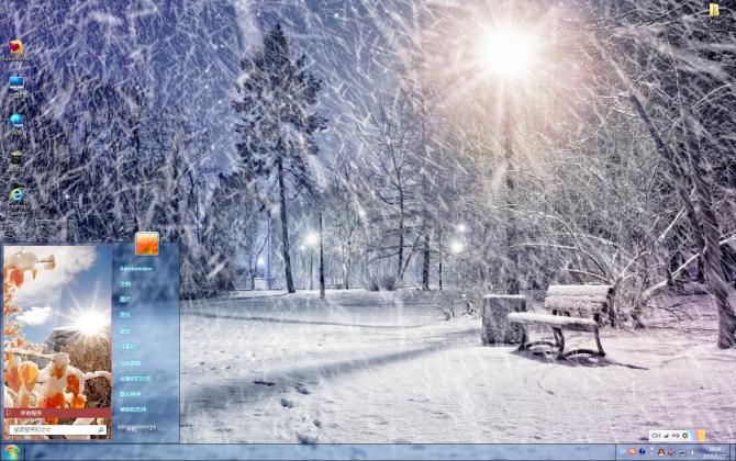 雪景冬季唯美风景win7主题