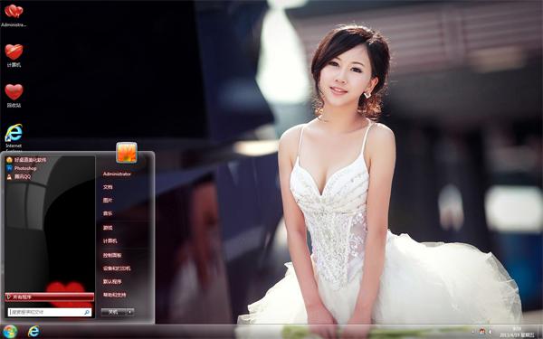 美丽婚纱win7主题桌面