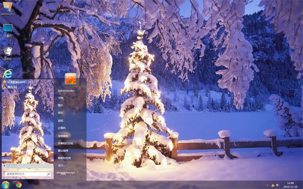 雪夜圣诞树电脑主题