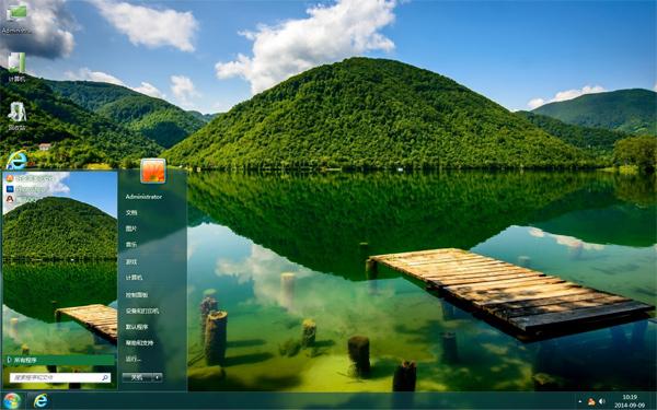 绿色湖景桌面主题