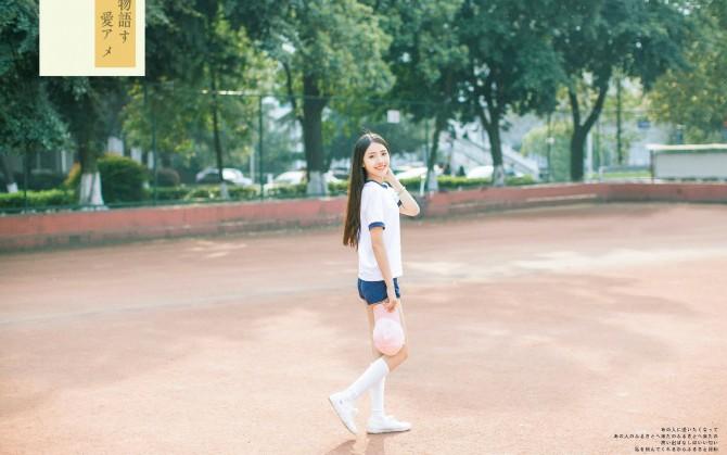 运动长发甜美女孩壁纸