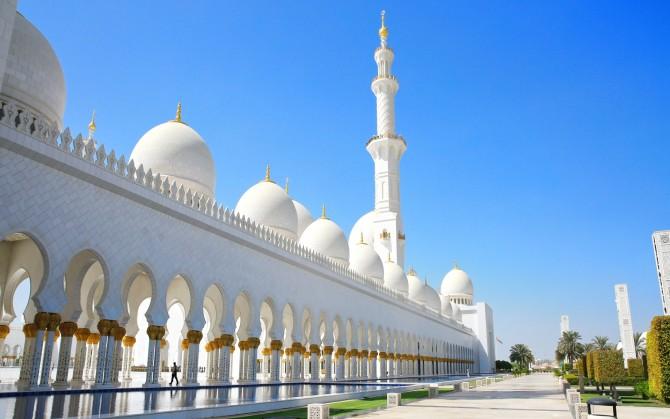 阿布扎比大清真寺高清风景桌面壁纸