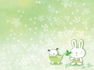 可爱兔绿色win7主题