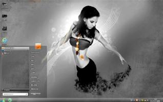 黑裙美女win7电脑桌面