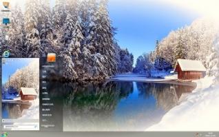 冬雪湖水风景主题