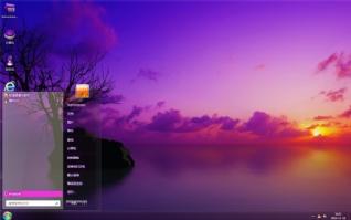 夕阳湖景电脑主题