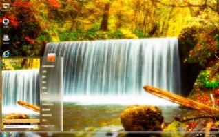 金色瀑布风景主题