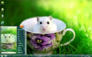可爱杯中小鼠桌面主题