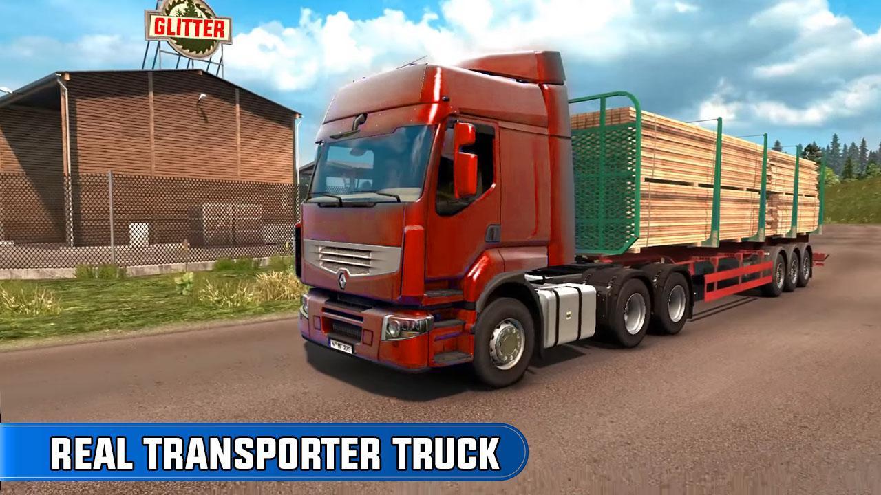 欧洲卡车司机越野货物运输去广告版